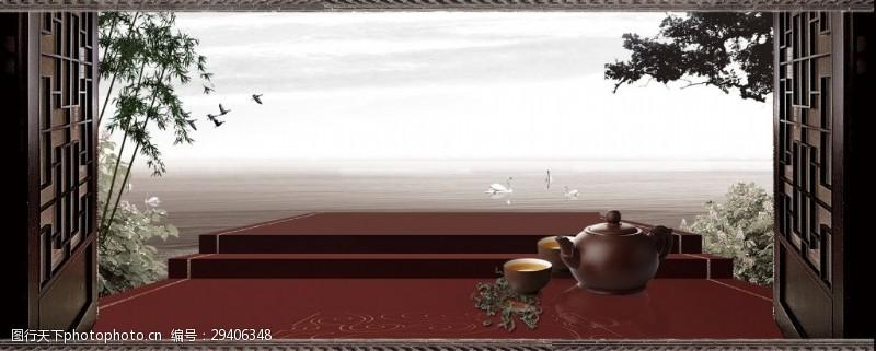 中式古典茶道banner背景设计