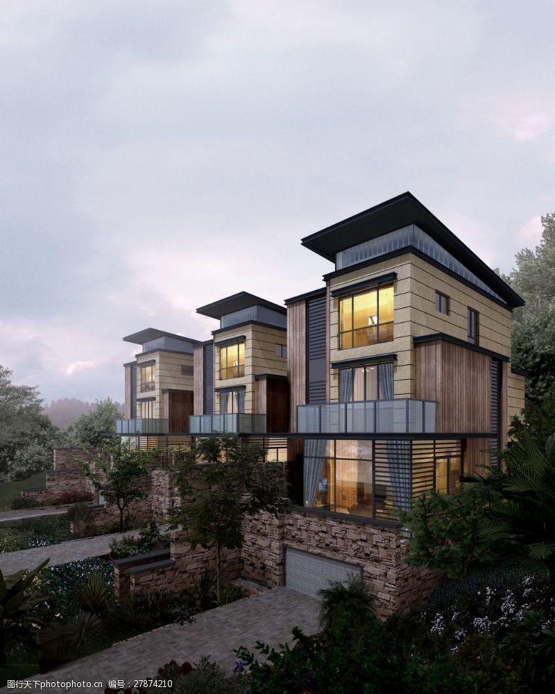 家居装饰素材别墅外观效果图模板