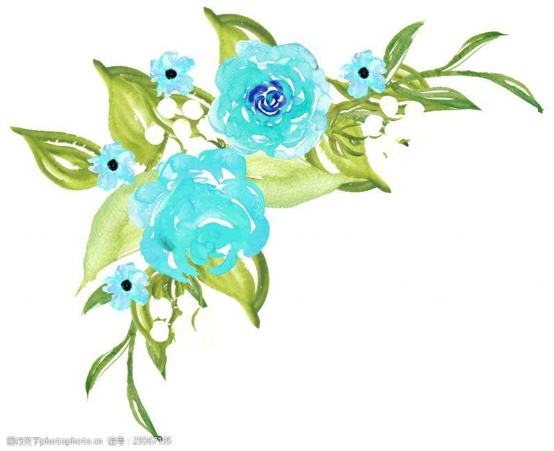 手绘蓝色花草装饰素材