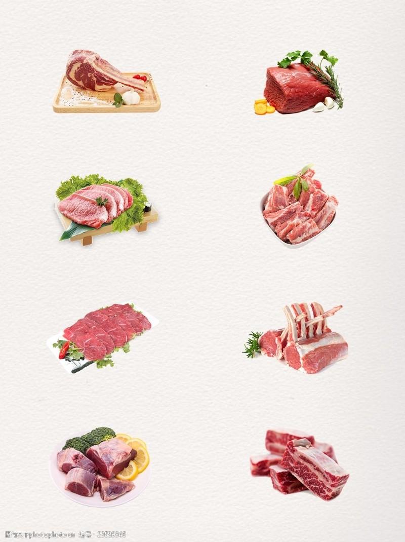 新鲜嫩肉红肉瘦肉PNG元素