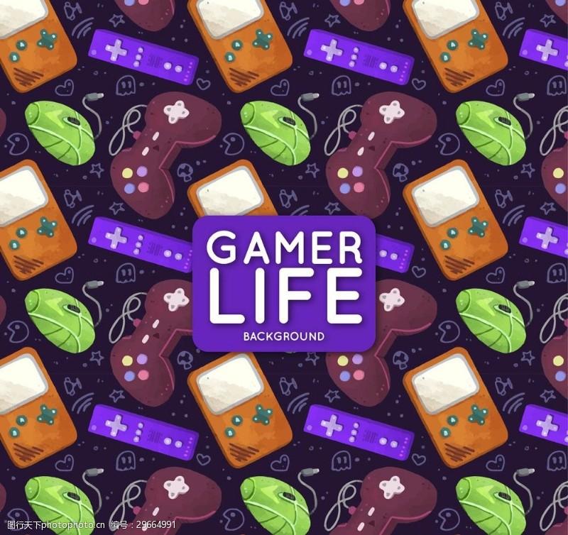 数码游戏彩色游戏机无缝背景矢量图
