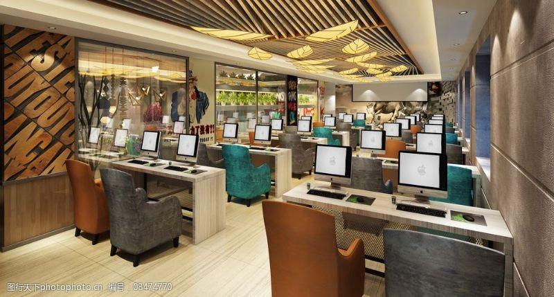 豪华网咖网吧网咖装修效果图图片